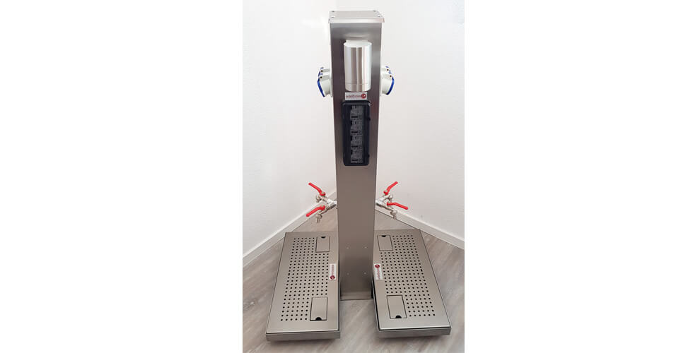 Energiesäulen + Abwasser Gully aus Edelstahl Variante 6 - Edelboxx